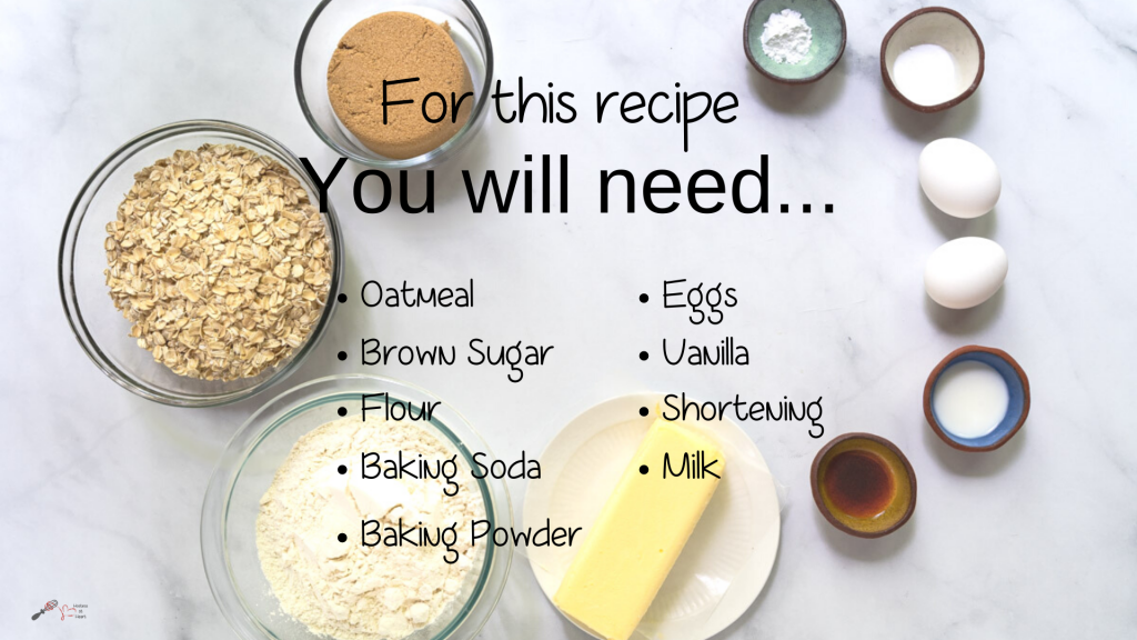 Top down view of the ingredients necessary to make oatmeal cookies including oatmeal, brown sugar, flour, shortening, vanilla, milk, eggs, baking powder and baking soda.
