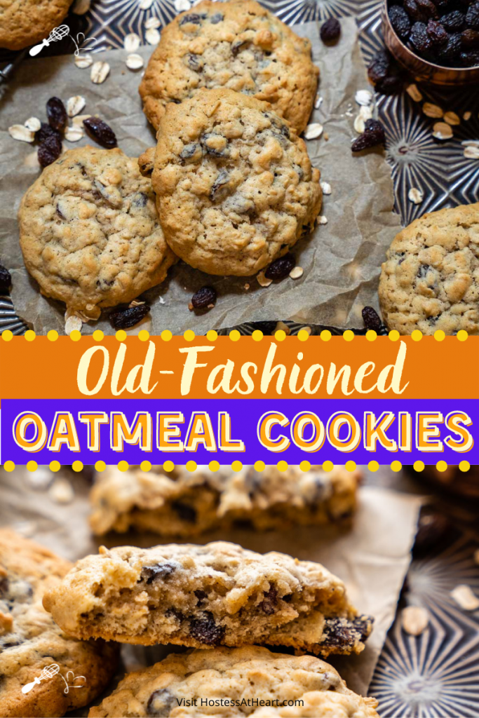 Two photos for Pinterest. One photo is a top view of oatmeal raisin cookies and the second photo is of a half cookie showing the soft interior.