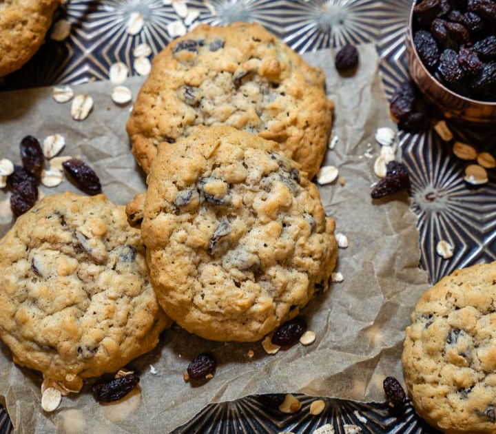 Top down view of Oatmeal Raisin Cookies